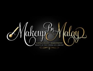 Makeup artist logo design in gold and silver