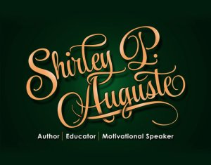 Author, educator signature logo in coral and colors