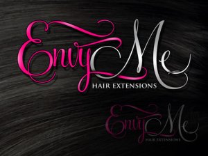 Hair extensions logo in pink and silver